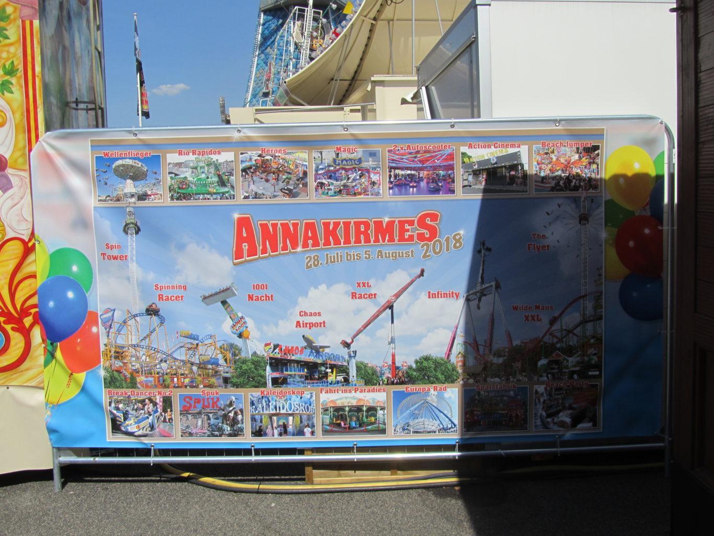 Info-Plakat auf der Annakirmes 2018